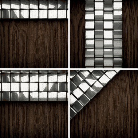 ironworks: vector wooden background with metal element Illustration