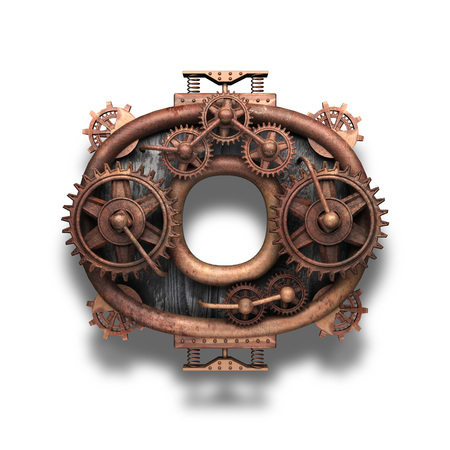 o rusted letter with gears on white Banco de Imagens