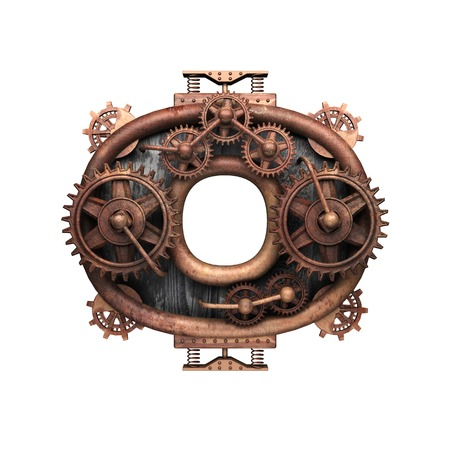 o isolated rusted letter with gears on white Banco de Imagens