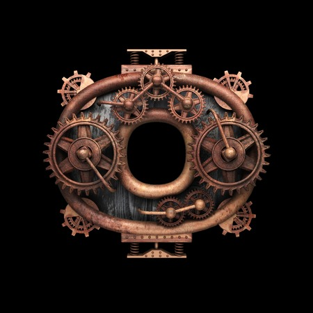 o isolated rusted letter with gears on black