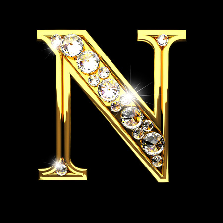 solid: n isolated golden letters with diamonds on black Stock Photo