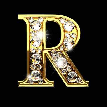 r isolated golden letters with diamonds on black Stock Photo