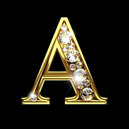 een geïsoleerde gouden letters met diamanten op zwart