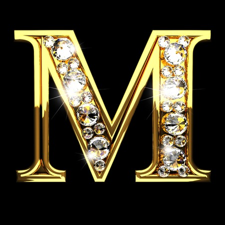 m isolated golden letters with diamonds on black 스톡 콘텐츠