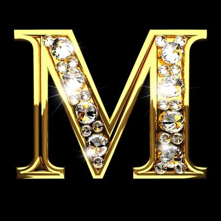 letras negras: m aislado letras de oro con los diamantes en negro Foto de archivo