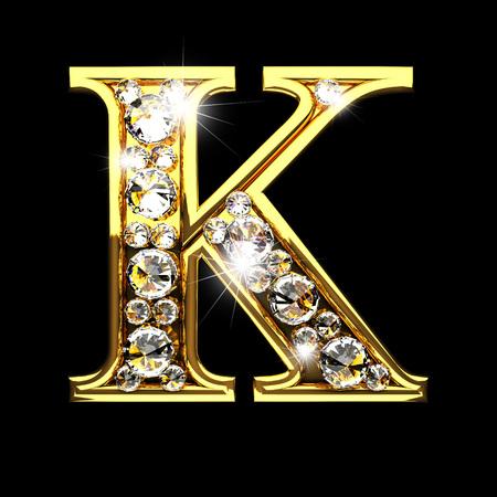 k isolated golden letters with diamonds on black Reklamní fotografie