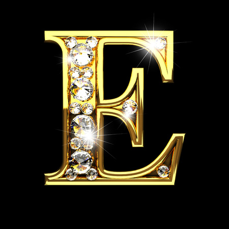e isolated golden letters with diamonds on black
