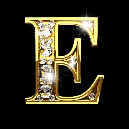 solid figure: e isolato lettere d'oro con diamanti sul nero