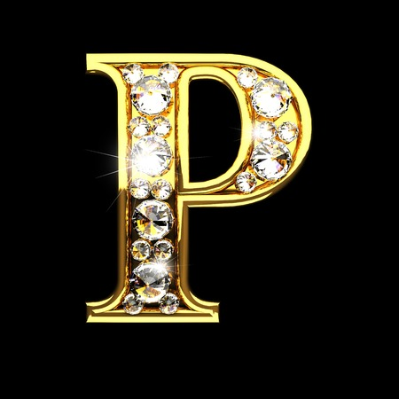 p isolated golden letters with diamonds on black