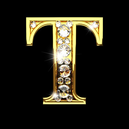 t isolated golden letters with diamonds on black