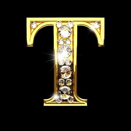 t isoliert goldenen Buchstaben mit Diamanten auf schwarzem