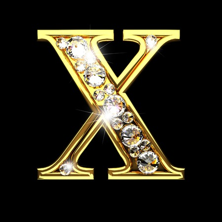 x isolated golden letters with diamonds on black