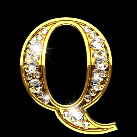 q isolated golden letters with diamonds on black Фото со стока