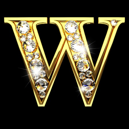 w isolated golden letters with diamonds on black Фото со стока
