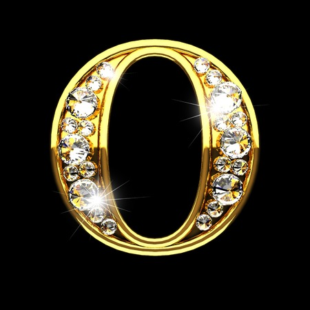 o isolated golden letters with diamonds on black