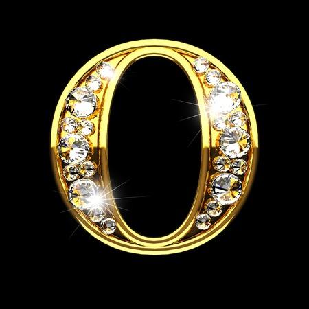 O geïsoleerde gouden letters met diamanten op zwart Stockfoto