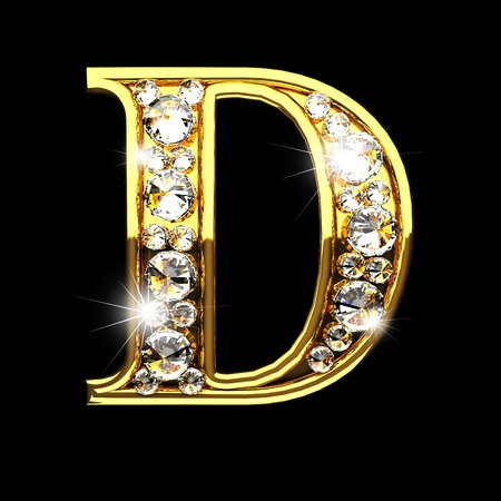D geïsoleerde gouden letters met diamanten op zwart