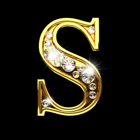 golden: s isolated golden letters with diamonds on black