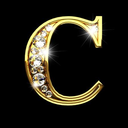 c isolé lettres d'or avec des diamants sur le noir