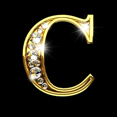 c isolated golden letters with diamonds on black Stock Photo