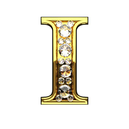i isolated golden letters with diamonds on white Foto de archivo