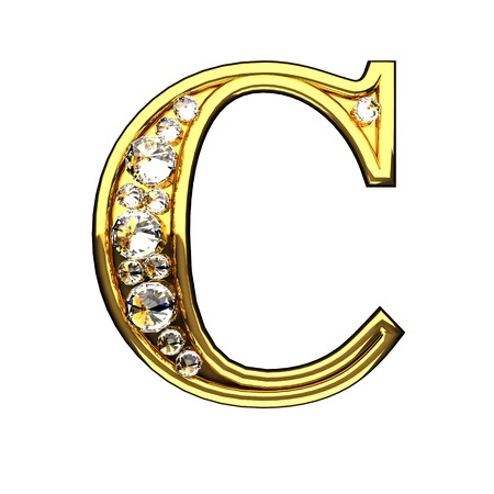 c isolated golden letters with diamonds on white