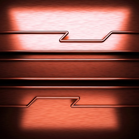 brushed: red brushed metal background Stock Photo