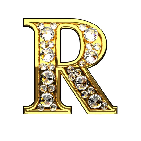 r isolated golden letters with diamonds on white Stock fotó - 54003153
