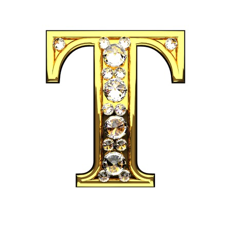 t isolated golden letters with diamonds on white