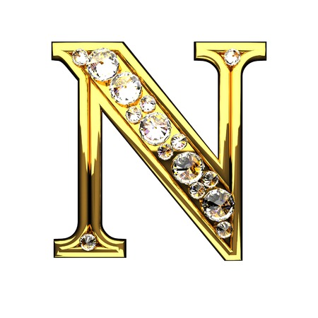 n isolated golden letters with diamonds on white