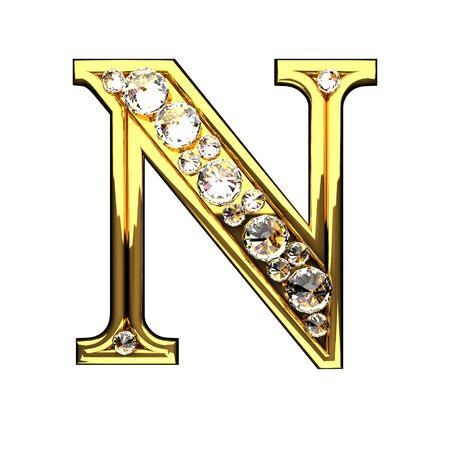 n isoliert goldenen Buchstaben mit Diamanten auf weißem Standard-Bild