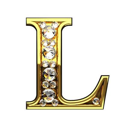 L geïsoleerde gouden letters met diamanten op wit