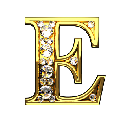 e isolated golden letters with diamonds on white