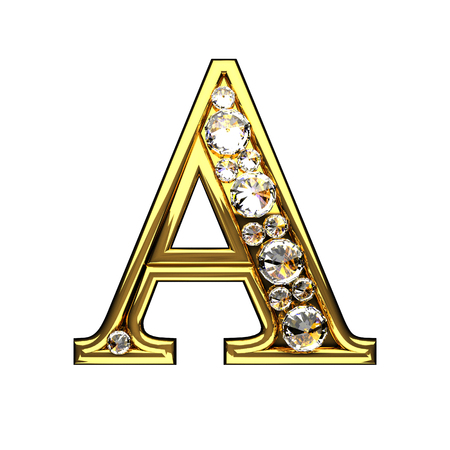 a isolated golden letters with diamonds on white