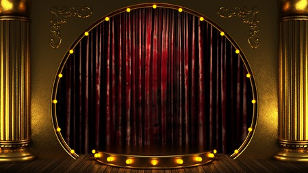 red curtain stage with gold and lights. 3D illustration