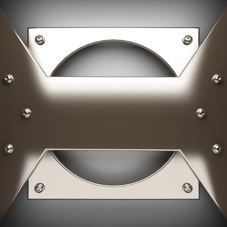 polished: polished metal element on gray background. 3D illustration