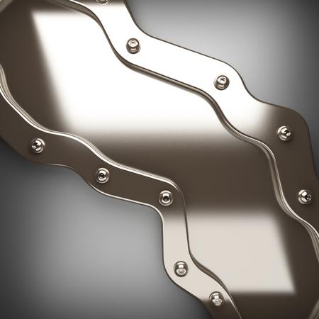 polished metal element on gray background. 3D illustration
