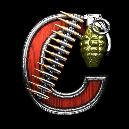 metal letters: c military letter. 3D illustration