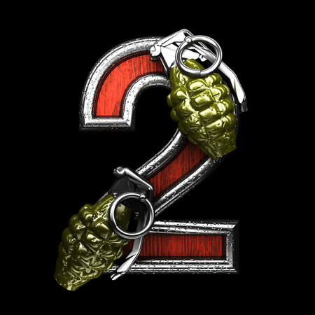 carbine: 2 military letter. 3D illustration Stock Photo