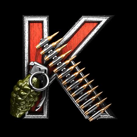 abstruse: k military letter. 3D illustration Stock Photo