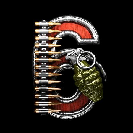 six gun: 6 military letter. 3D illustration