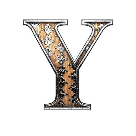 y ornament: y silver letter. 3D illustration Stock Photo