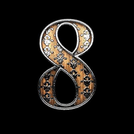 abstruse: 8 silver letter. 3D illustration