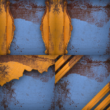 corrode: Rusted blue painted metal wall background set