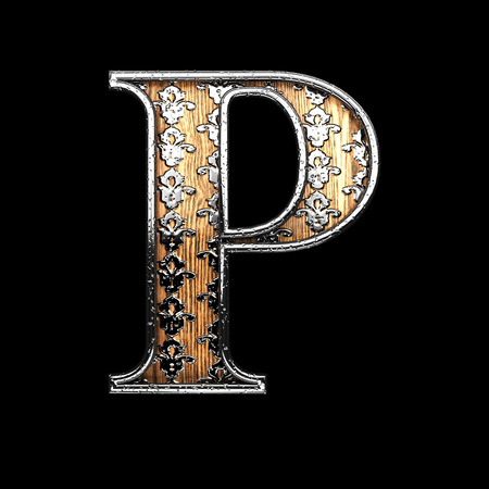 abstruse: p silver letter. 3D illustration