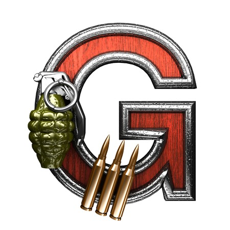 carbine: g military letter. 3D illustration Stock Photo