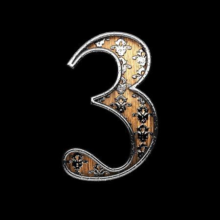 abstruse: 3 silver letter. 3D illustration