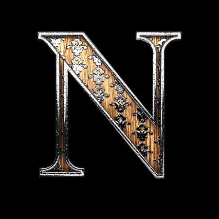 abstruse: n silver letter. 3D illustration