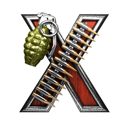 carbine: x military letter. 3D illustration Stock Photo