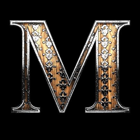 abstruse: m silver letter. 3D illustration Stock Photo